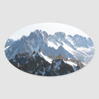 ¡La cordillera de las montañas - atontando! Pegatina Ovalada