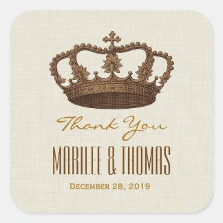La corona de BROWN le agradece novio de la novia Calcomanías Cuadradases