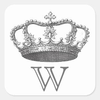 La corona de la reina clásica pegatina cuadrada