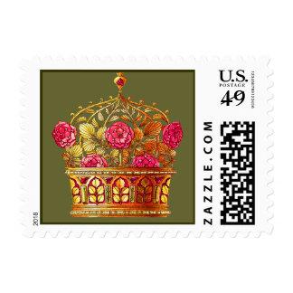 La corona de Nouveau del arte con rosa florece Sellos Postales