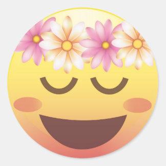 La corona Emoji tranquilo feliz de la flor hace Pegatina Redonda