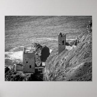 La corona mina las casas de motor, Botallack, Póster
