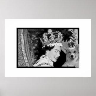 La coronación de Elizabeth II y de su Corgi Póster