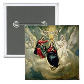 La coronación de la Virgen, c.1591-92 Pin Cuadrado
