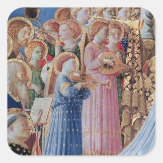 La coronación de la virgen pegatina cuadrada