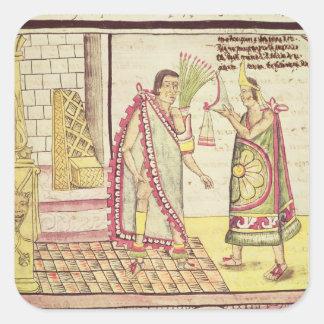 La coronación de Montezuma II Pegatina Cuadrada