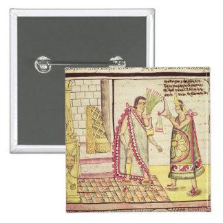 La coronación de Montezuma II Pin Cuadrado