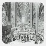 La coronación de rey James II c.1685 Calcomanía Cuadradase