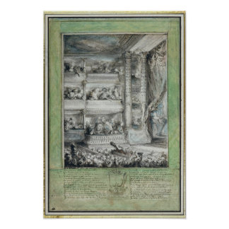 La coronación de Voltaire en el teatro Francais Póster