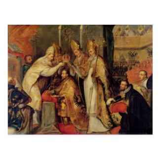 La coronación del emperador romano santo de Charle Postal