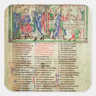 La coronación del hijo de rey Henry II Pegatina Cuadrada