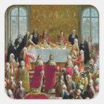 La coronación pegatina cuadrada