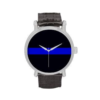 La correa de cuero Blue Line fino de los hombres m Reloj