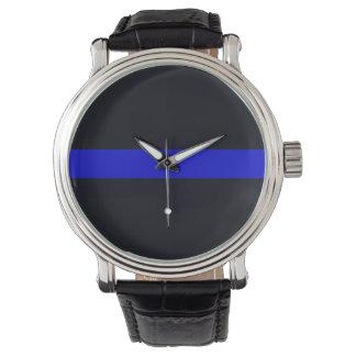 La correa de cuero Blue Line fino de los hombres Relojes De Mano