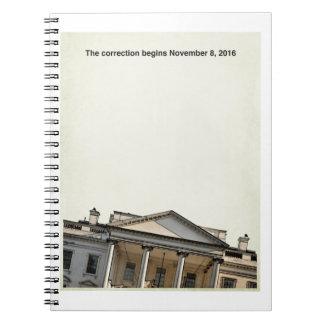 La corrección comienza 11-8-2016 spiral notebook