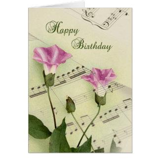 La correhuela de la música florece cumpleaños felicitación