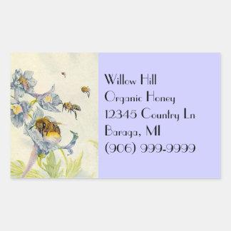 La correhuela de las abejas de la miel del rectangular pegatinas