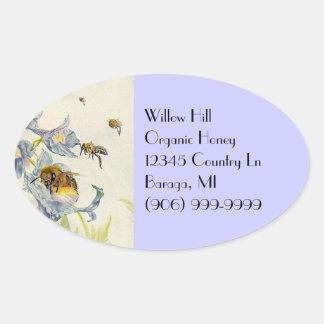 La correhuela de las abejas de la miel del calcomanías ovaladas