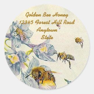 La correhuela de las abejas de la miel del pegatinas redondas