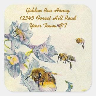 La correhuela de las abejas de la miel del pegatina cuadrada