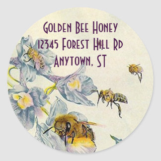La correhuela de las abejas de la miel del pegatina redonda
