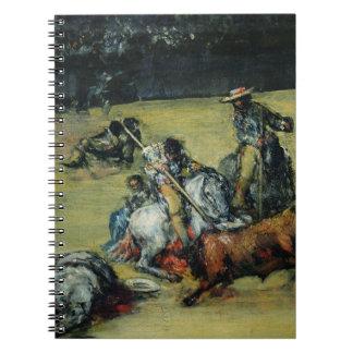 La corrida, c.1825 (aceite en lona) libro de apuntes con espiral