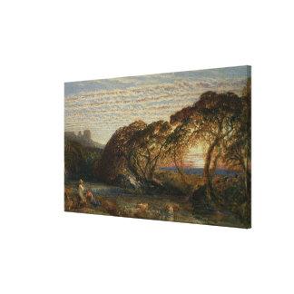 La corriente vaga impresión en lienzo
