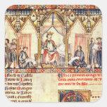 La corte de Alfonso X 'el Wise Pegatinas Cuadradases