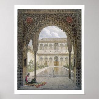 La corte de la Alberca en Alhambra Granada Poster