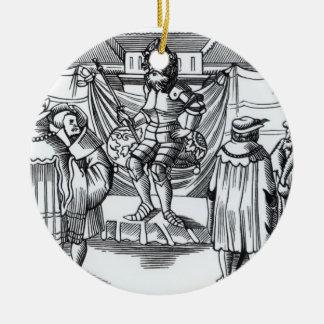 La corte de un barón, después de un grabar en adorno navideño redondo de cerámica
