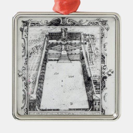 La corte del belvedere en el Vatican Roma, 1581 Adorno Navideño Cuadrado De Metal