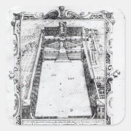 La corte del belvedere en el Vatican Roma, 1581 Colcomanias Cuadradas Personalizadas