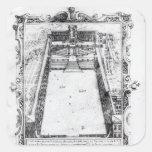La corte del belvedere en el Vatican Roma, 1581 Pegatina Cuadrada