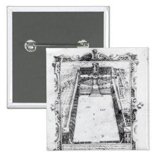 La corte del belvedere en el Vatican Roma, 1581 Pin Cuadrado