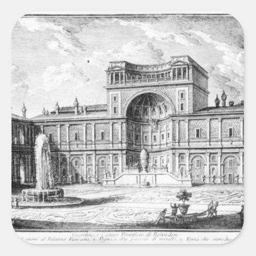 La corte del belvedere en el Vatican Roma Calcomania Cuadrada Personalizada