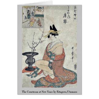 La cortesana en los Años Nuevos por Kitagawa, Tarjeta Pequeña
