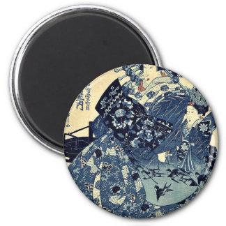 La cortesana Hanao de Ogiya por Utagawa, Kuniyoshi Imán Redondo 5 Cm
