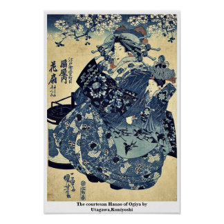 La cortesana Hanao de Ogiya por Utagawa Kuniyoshi Posters