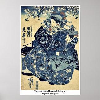 La cortesana Hanao de Ogiya por Utagawa, Kuniyoshi Póster