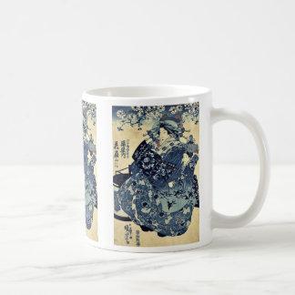 La cortesana Hanao de Ogiya por Utagawa, Kuniyoshi Taza De Café