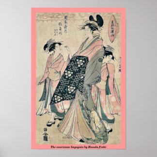 La cortesana Sayagata por Hosoda, Eishi Poster