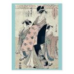 La cortesana Shinateru de Chokosai Eisho Postales