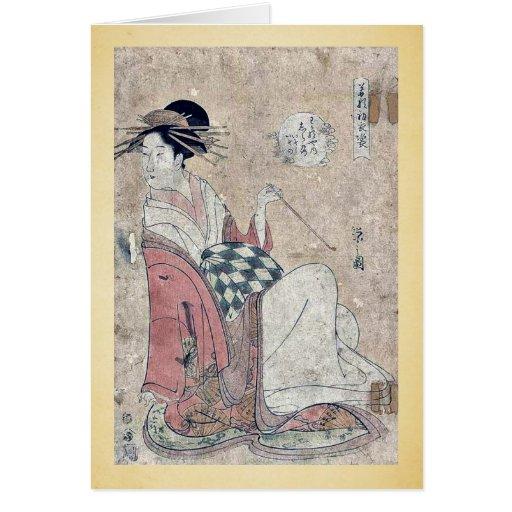 La cortesana Shiratsuyu por Hosoda, Eishi Tarjeton