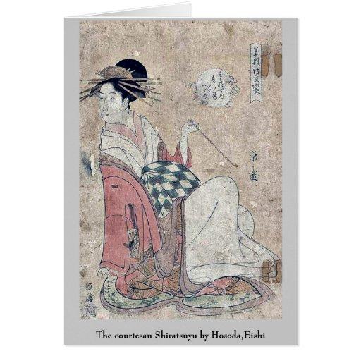 La cortesana Shiratsuyu por Hosoda, Eishi Tarjetón