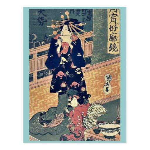 La cortesana Taisei por Utagawa, Sadahide Tarjetas Postales