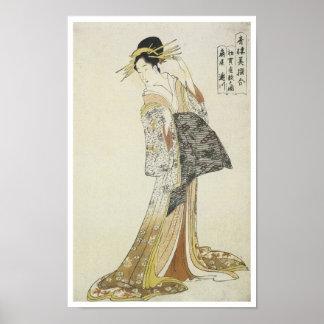 La cortesana Takikawa, Eishu, 1796 Póster
