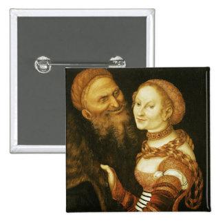 La cortesana y el viejo hombre, c.1530 pin cuadrado