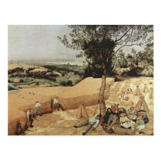 La cosecha de grano de Pieter Bruegel Tarjeta Postal