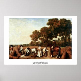 La cosecha de grano de Stubbs George Posters