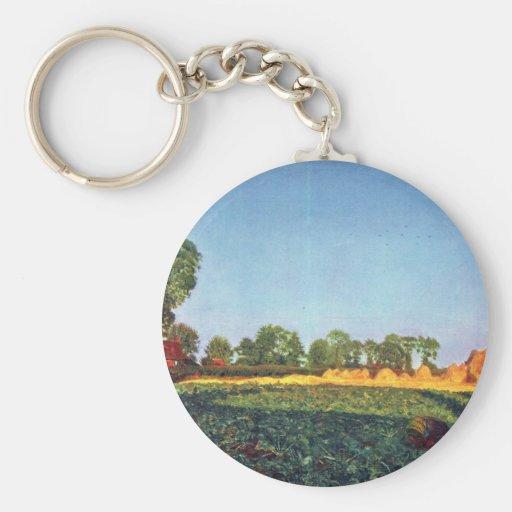 La cosecha de grano por Ford Madox Brown Llavero Redondo Tipo Pin